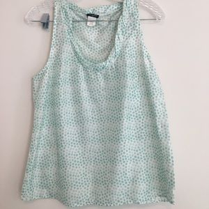 J Crew silk mint tank top Polka Dot